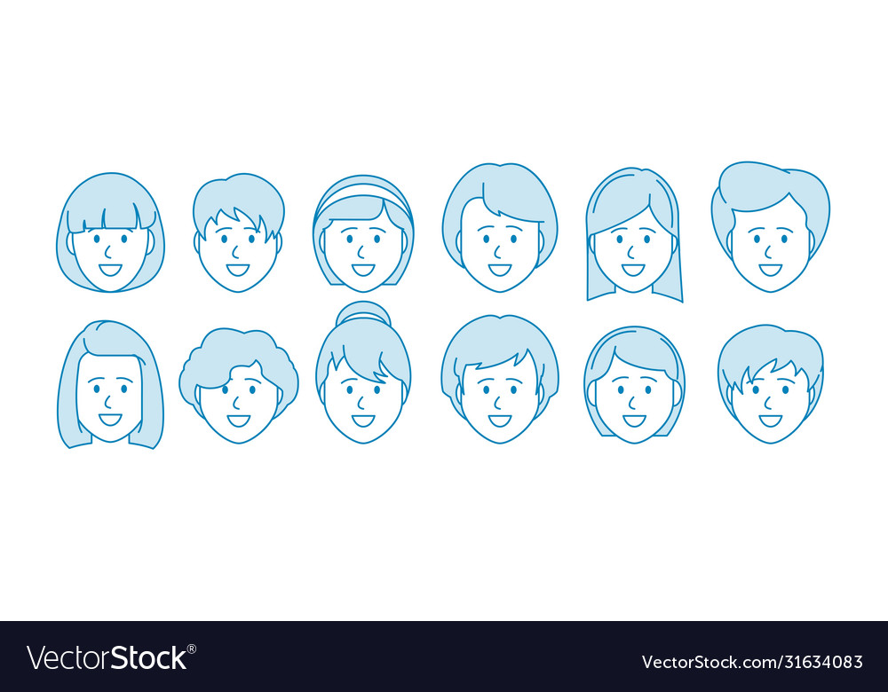 Line icon set people female characters