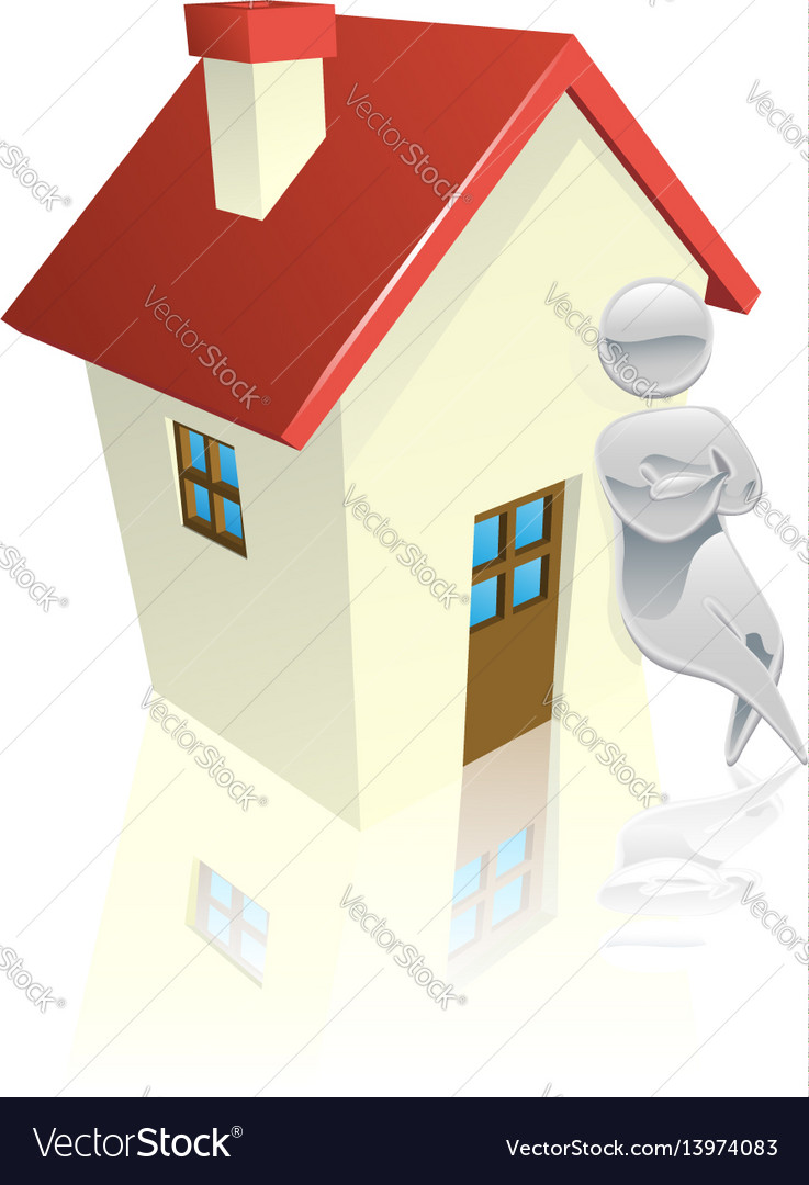 Metallic character leaning on house vector image
