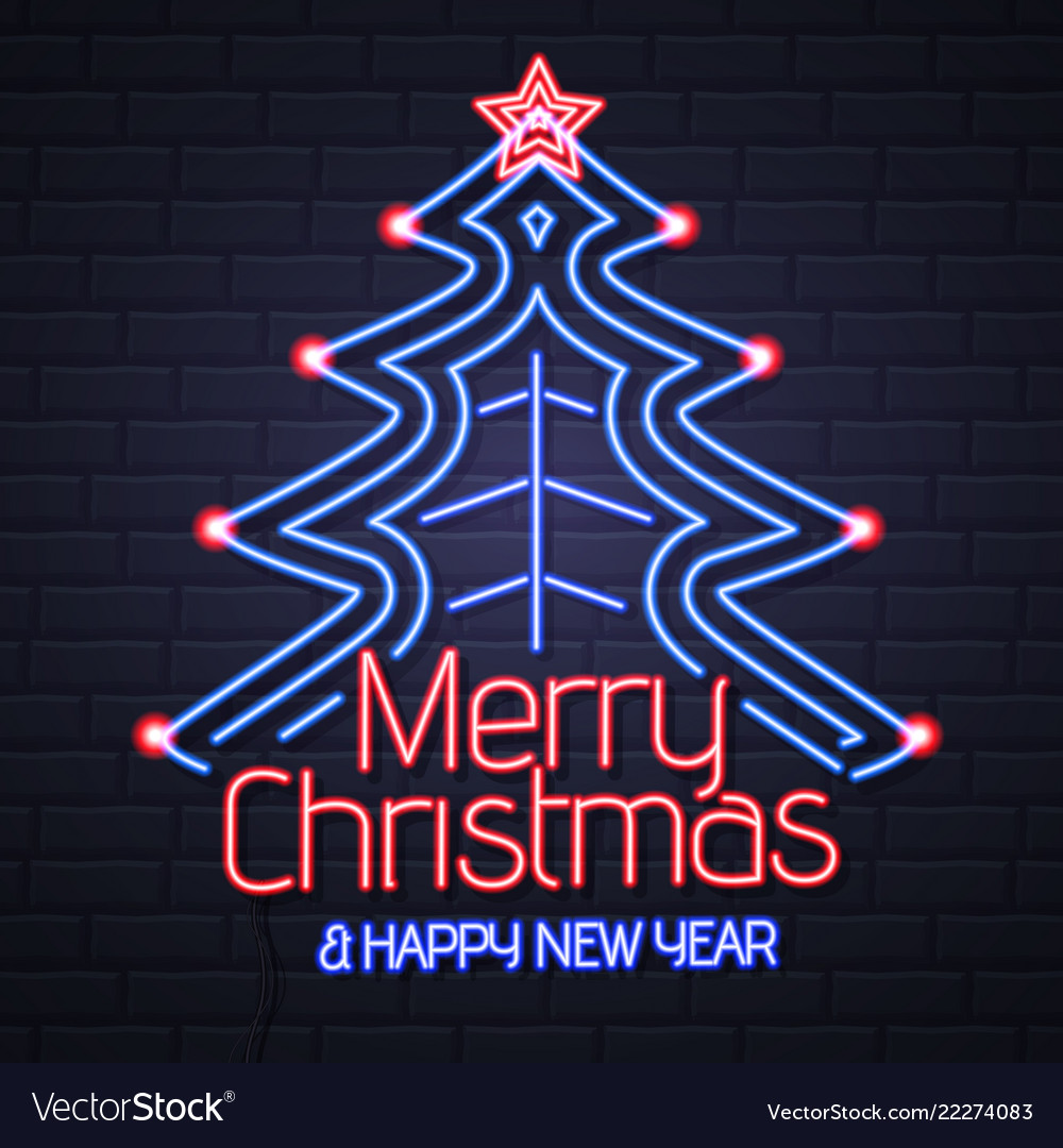 neon sign merry christmas and happy new year vector 22274083