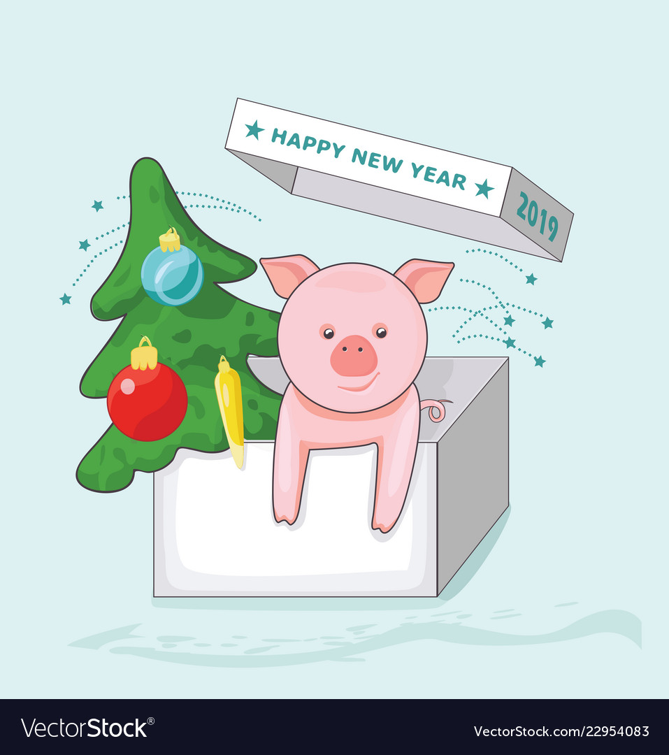 New year greeting card with pig and christmas