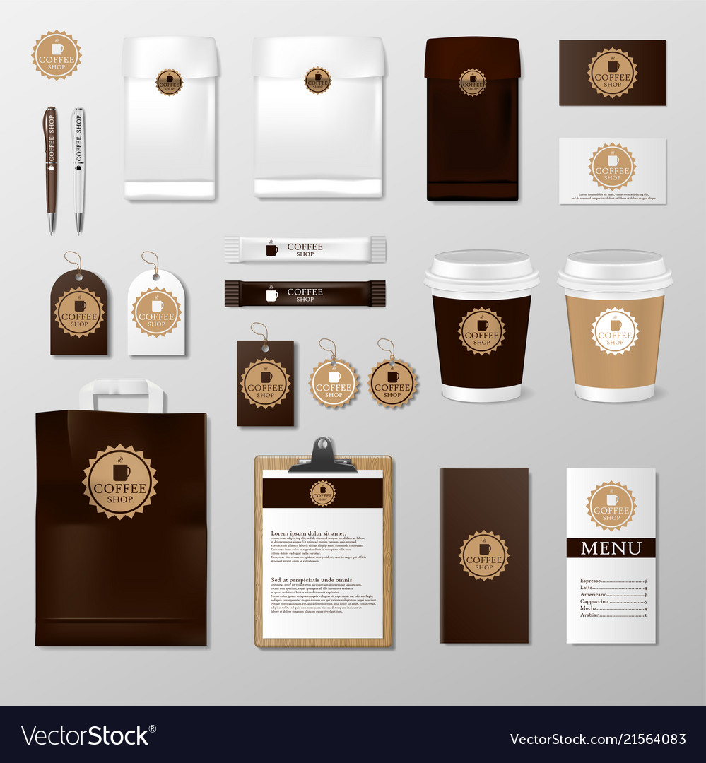 Realistic set mock up template for coffee shop or