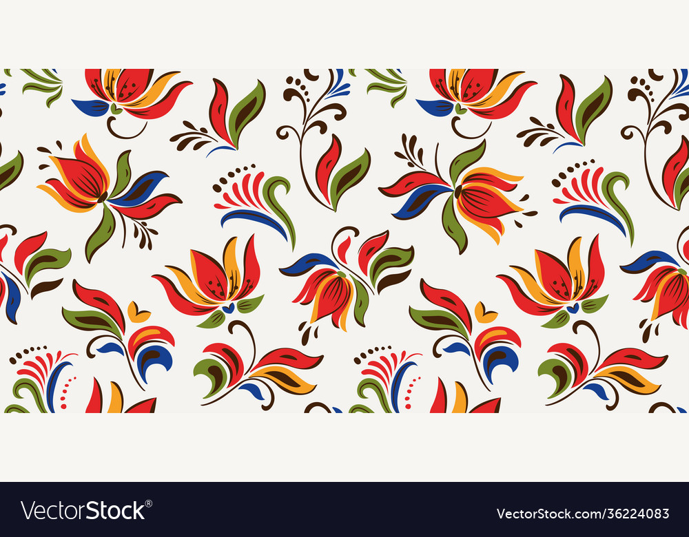 Seamless floral pattern with bright colorful