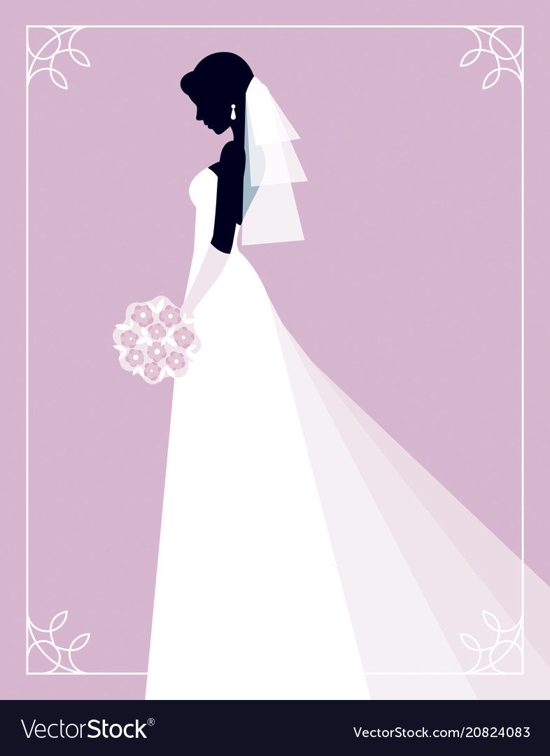 Silhouette of a bride on a pink background