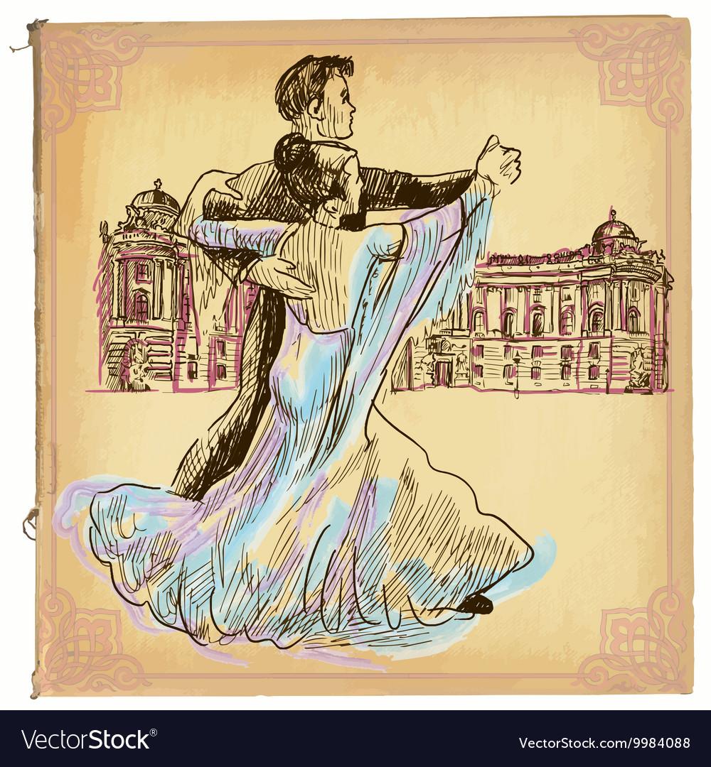 An hand drawn colored line art - Waltz dance