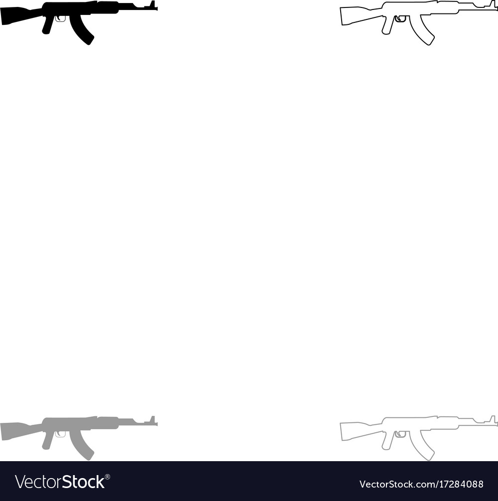 Assault rifle black and grey set icon vector image