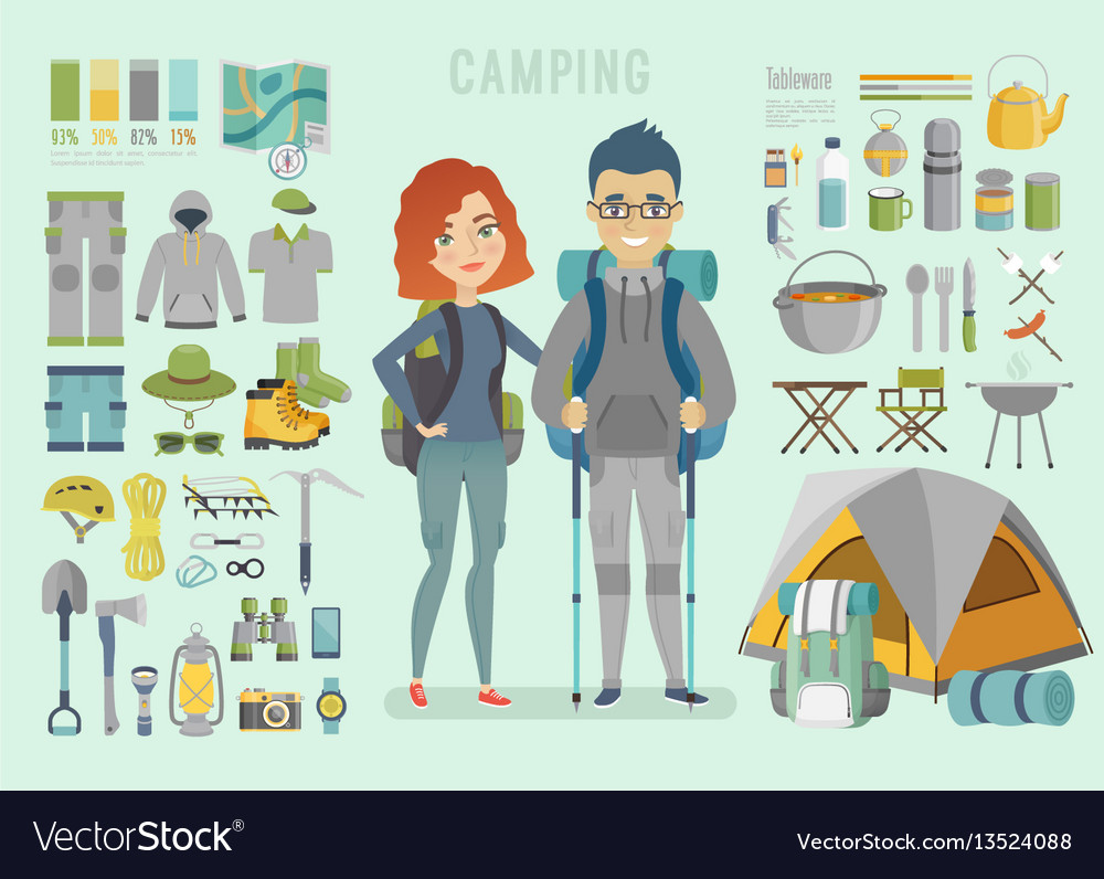 Camping infographic young couple ready for