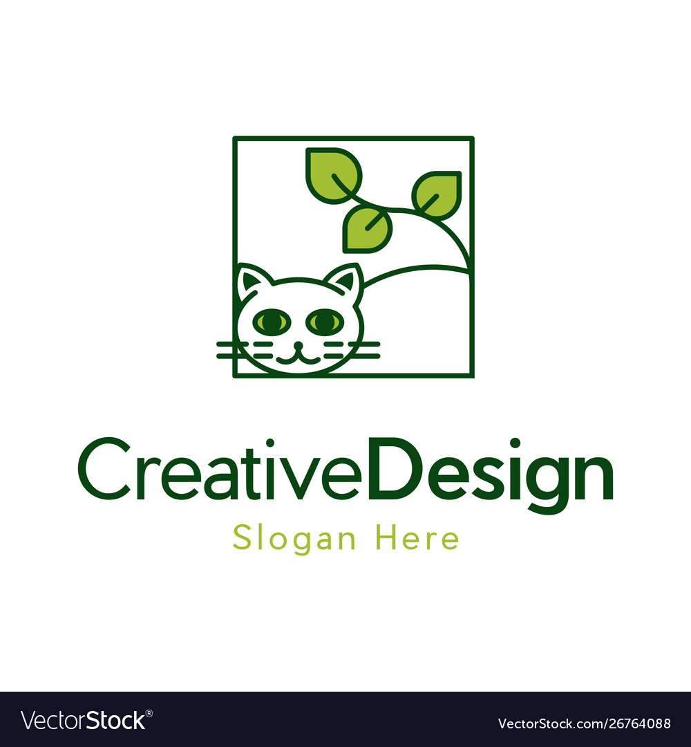 Cat leaf naturally creative business logo vector image