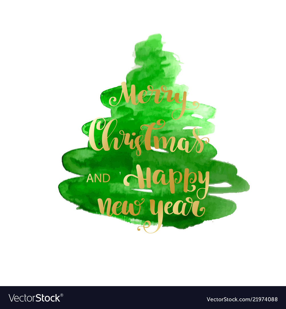 Christmas Tree Watercolor Texture Silhouette Vector Image