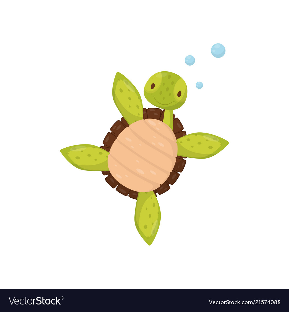 Cute Swimming Turtle Cartoon Character Of Marine Vector Image