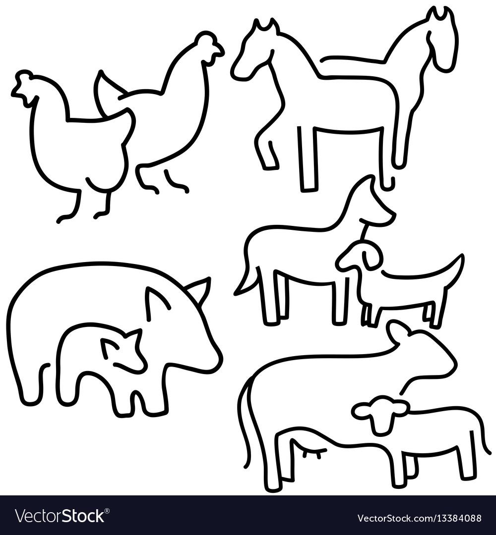 Farm animals set livestock eps 10