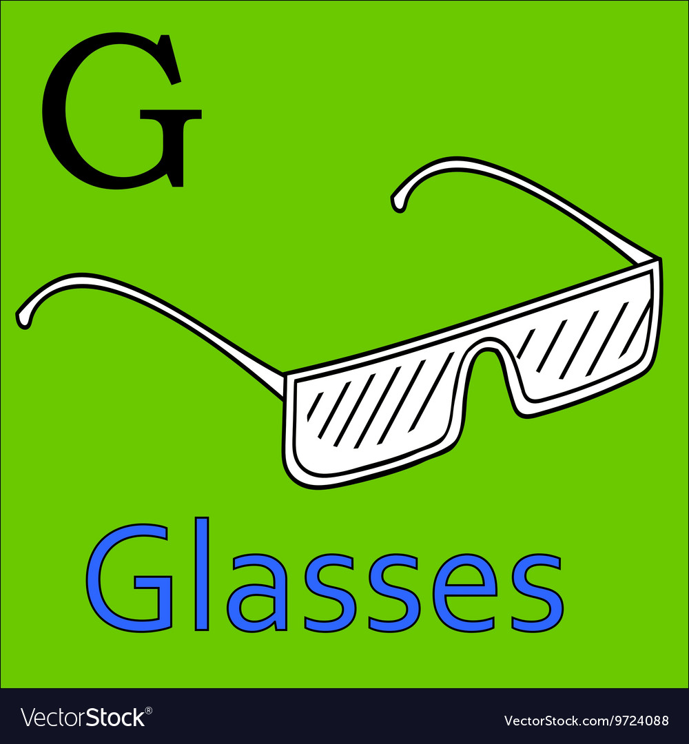 G letter alphabet Coloring book glasses Royalty Free Vector