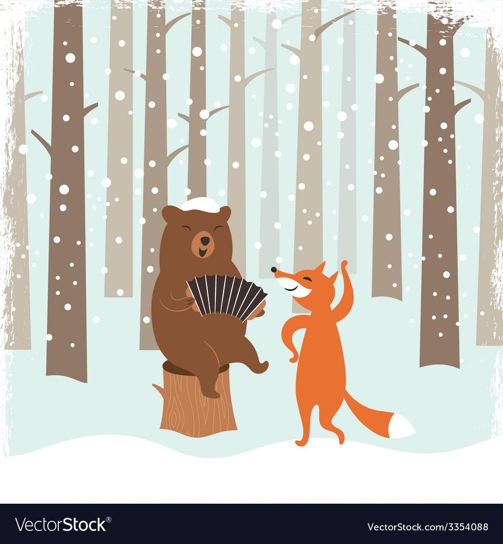 Greeting Christmas card a bear and a cute fox
