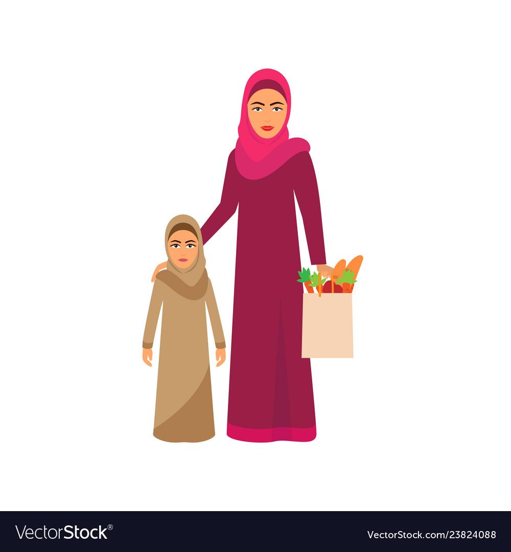 Muslim family shopping on supermarket sale cartoon