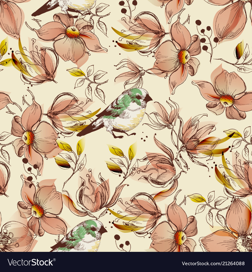 Pink flowers and birds pattern