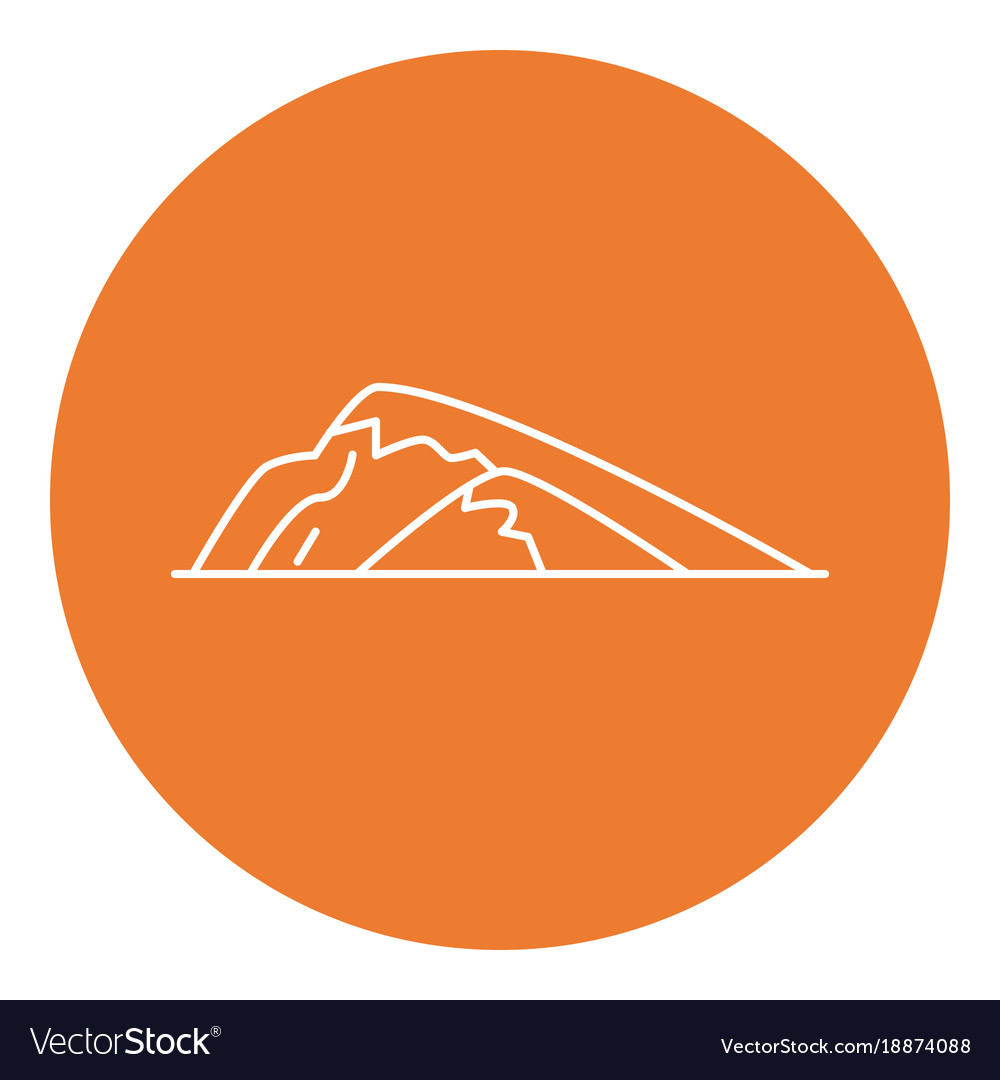 Sloping hill icon in thin line style
