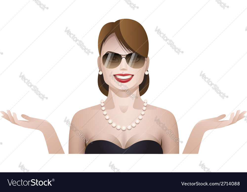 Woman palm up vector image