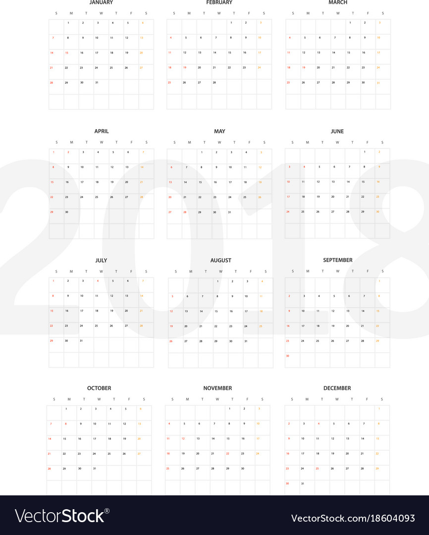 2018 year calendar template flat design template