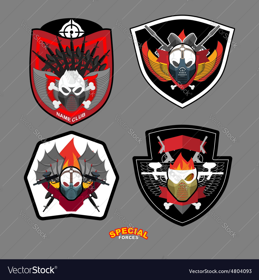 Army emblem set Special forces patch with skull vector image