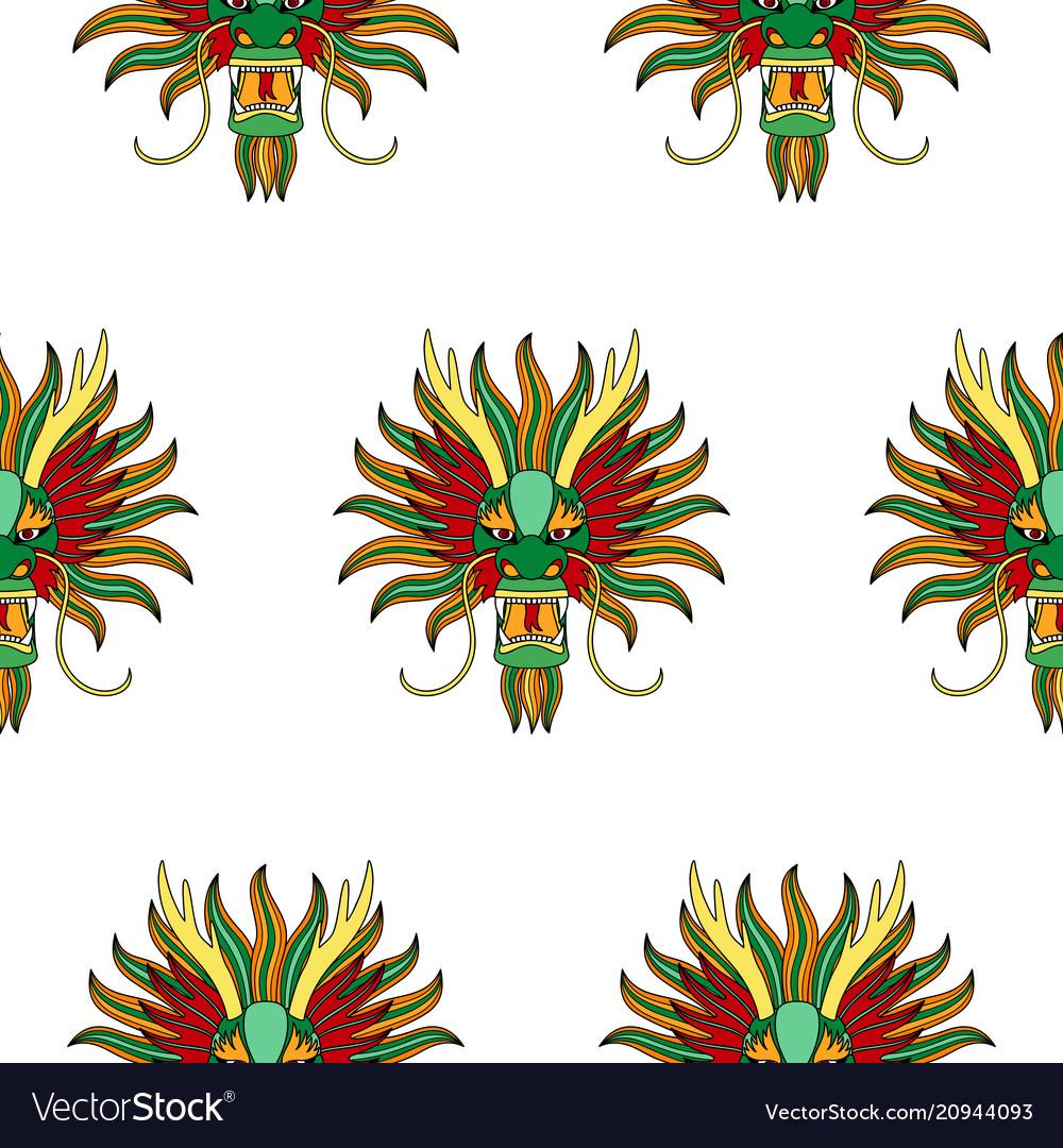 Chinese dragon head seamless pattern