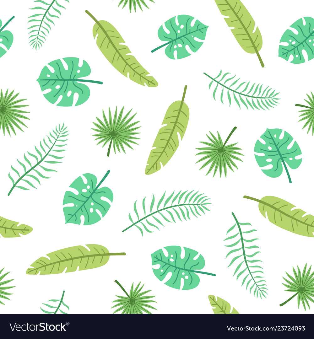Cute Tropical Leaves Royalty Free Vector Image