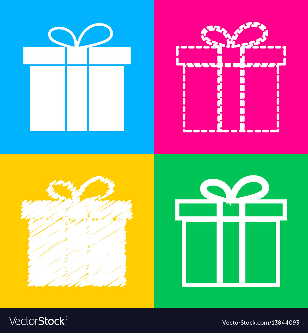Gift box sign four styles of icon on four color