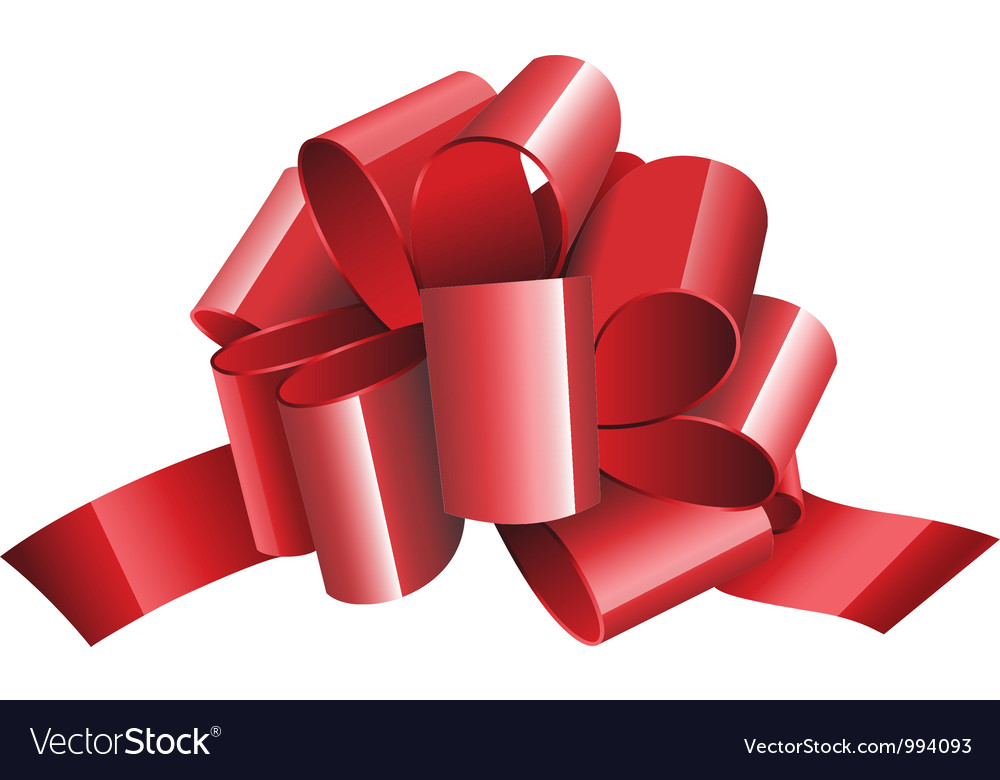 Gift red ribbon and bow isolated on white vector image