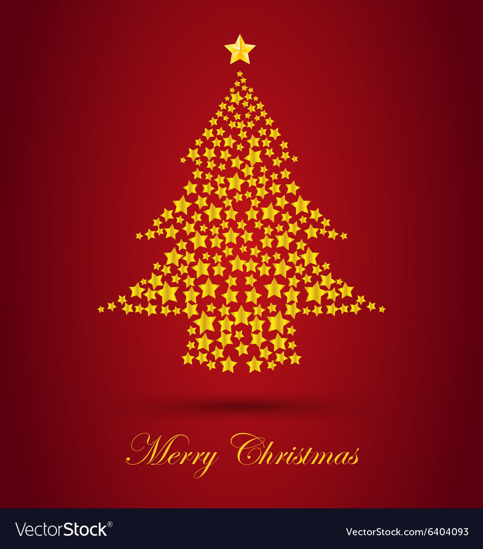 Gold Christmas Tree With Red Background