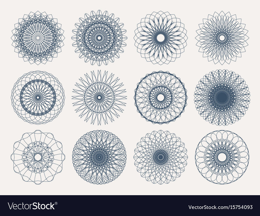 Guilloche set vector image