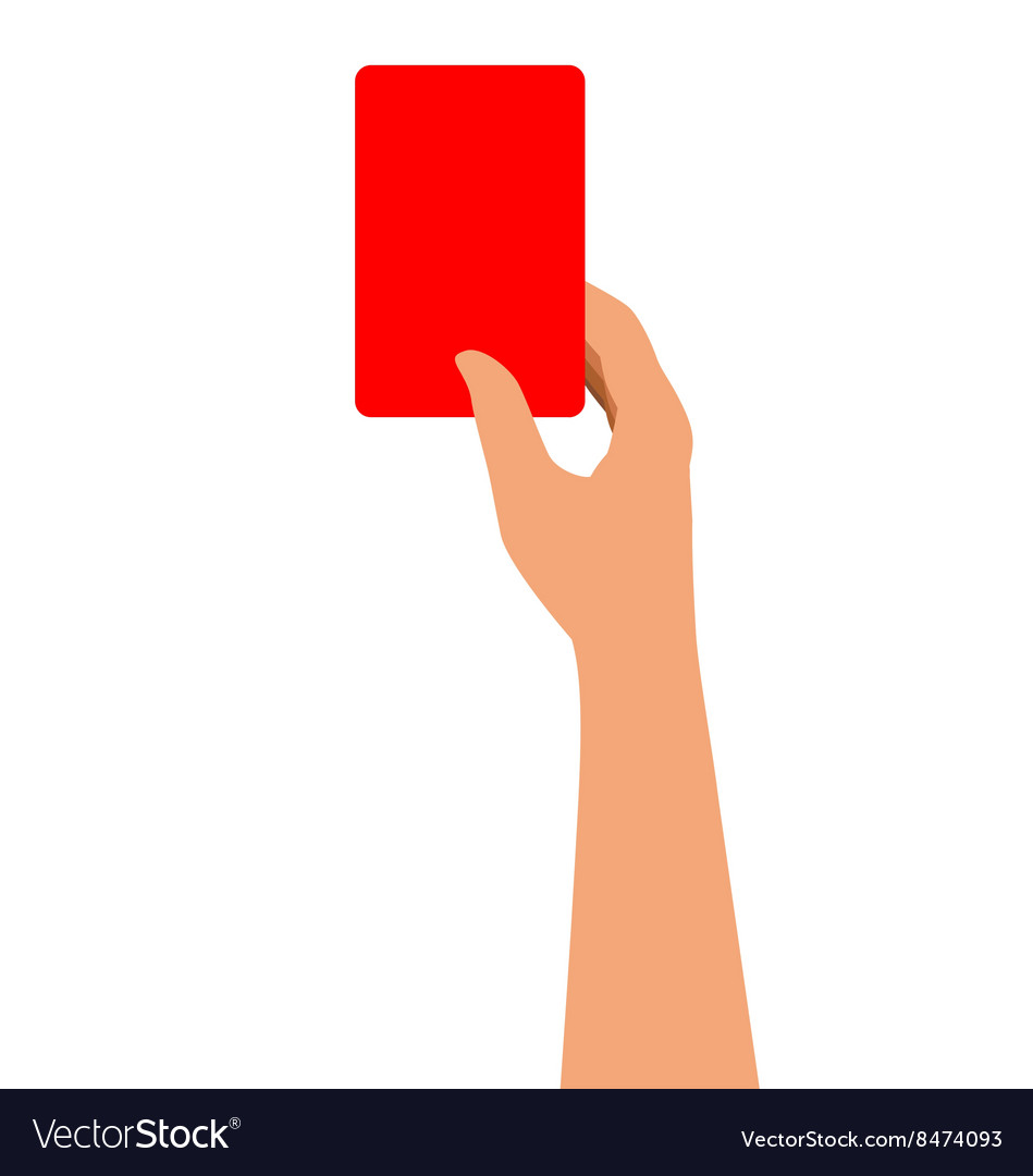 Hand Holding A Red Card Isolated On White
