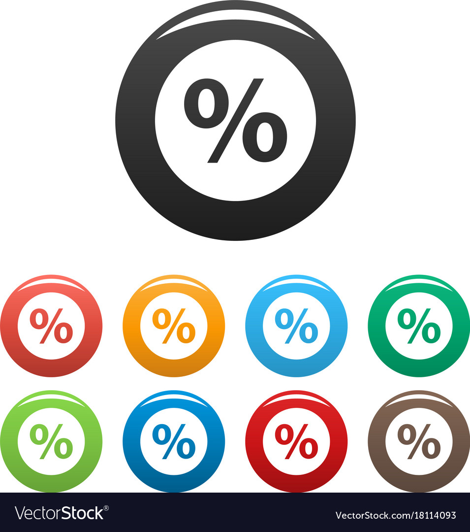 Percent sign icons set