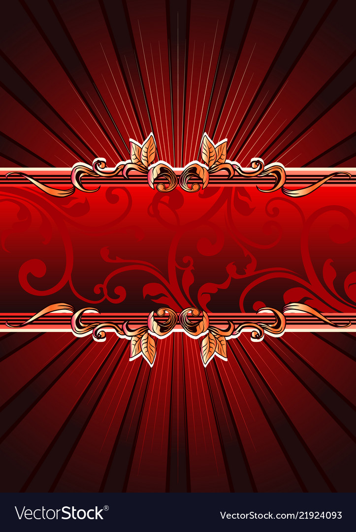 Red banner with floral elements