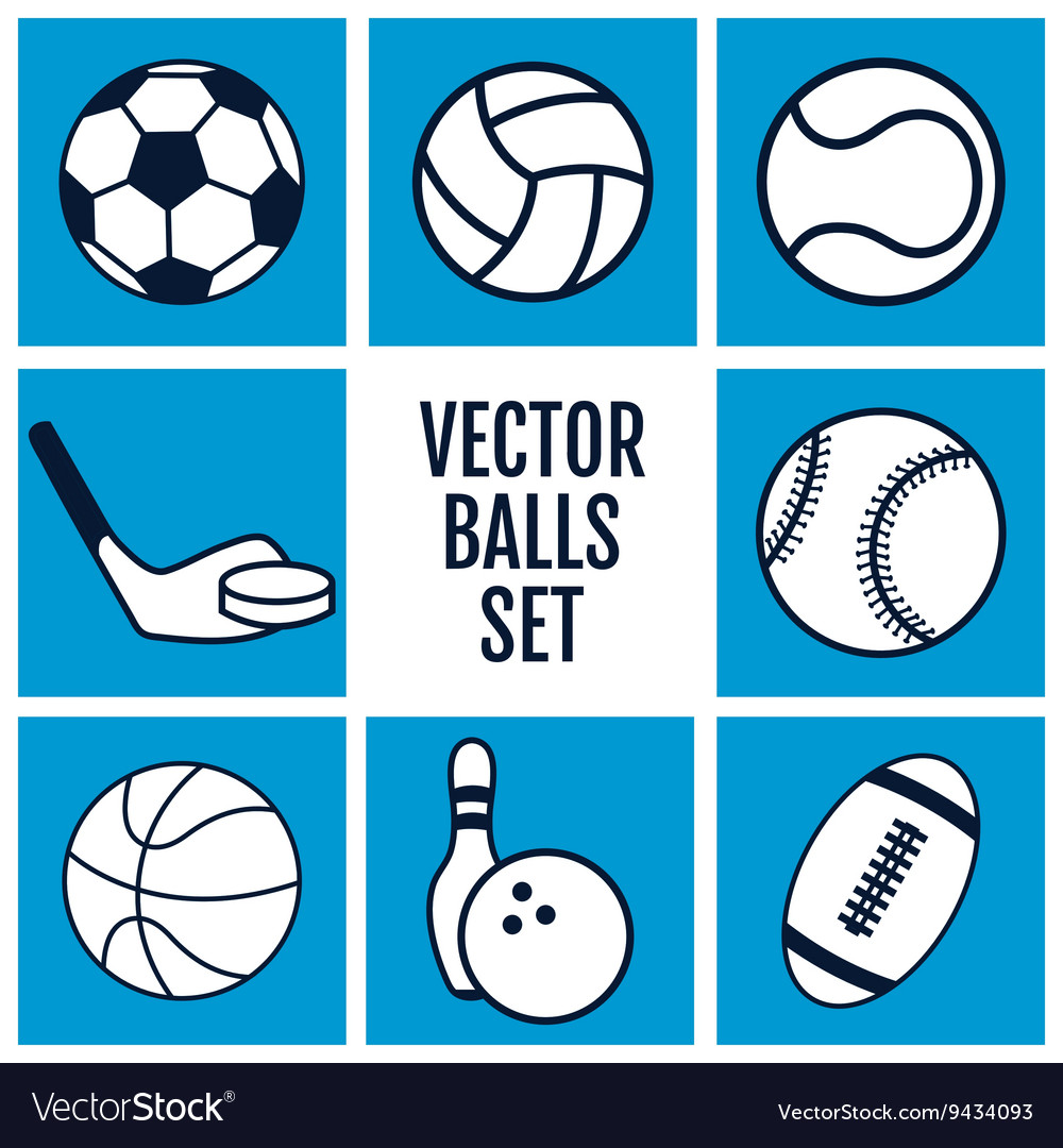 Set of sports balls icons on a blue background