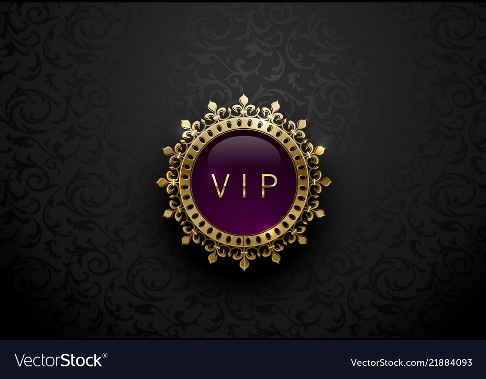 Vip purple label with round golden ring frame