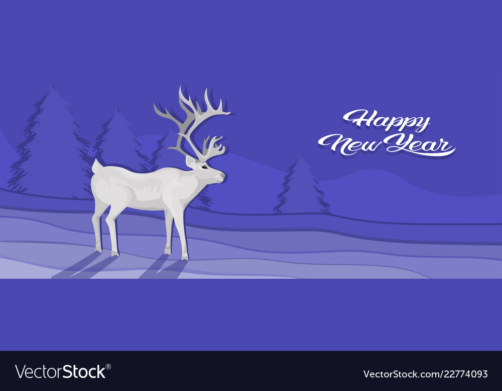White deer cartoon animal reindeer flat fir tree
