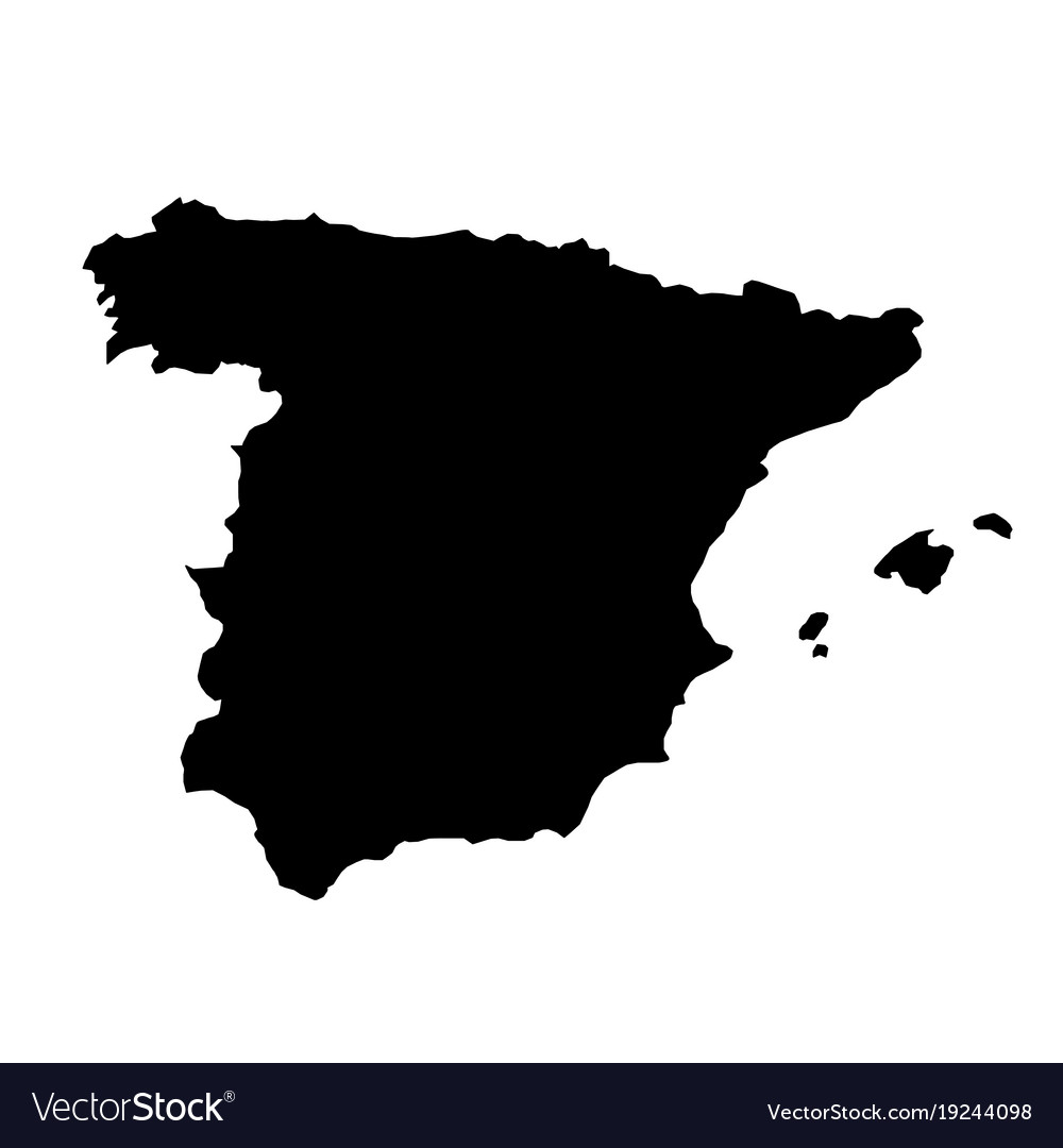 Map Of Spain Vector Free.Black Silhouette Country Borders Map Of Spain On