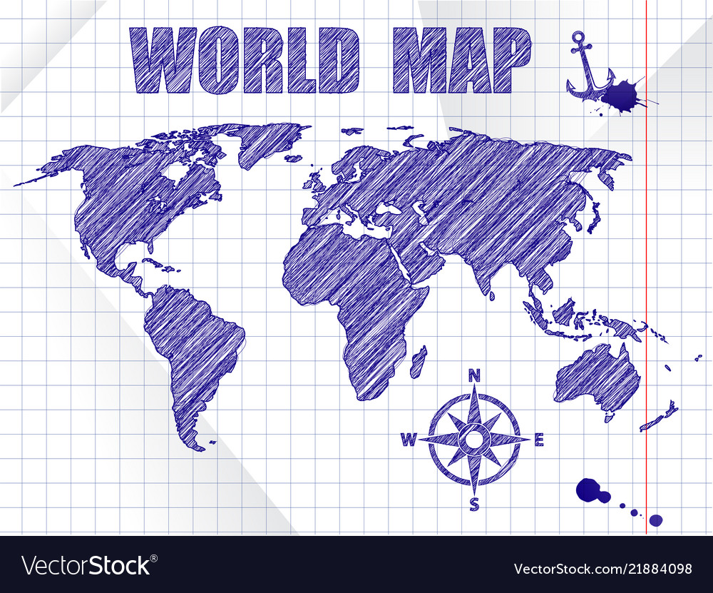 Navigation World Map.Blue Ink Sketched Navigation World Map On School Vector Image