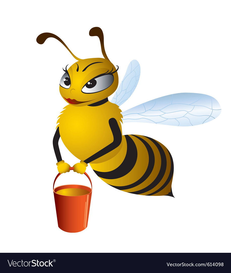 Cartoon bees gathering honey vector image