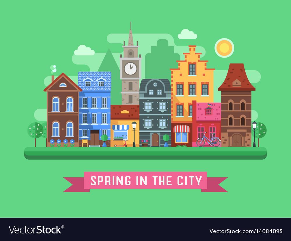 Europe spring street landscape