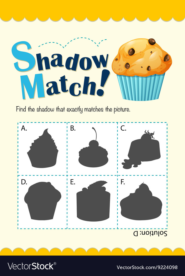 Game template with shadow matching muffin