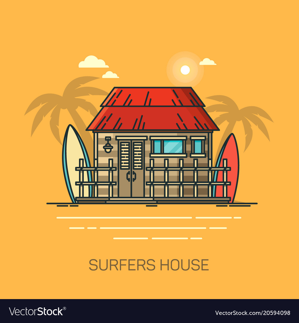 House with surfboards surfer home with palms