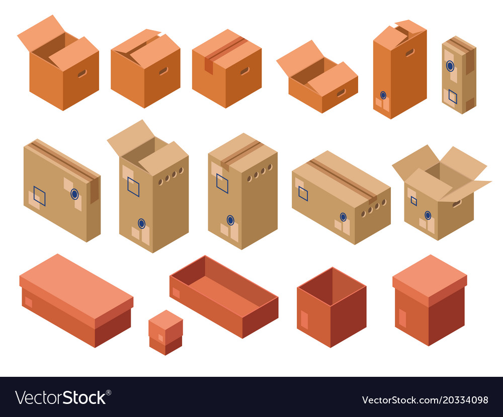 Isometric shipping package cardboard box