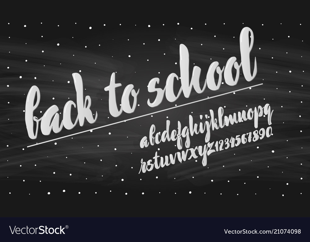 Latin alphabet chalk - badge back to school trend