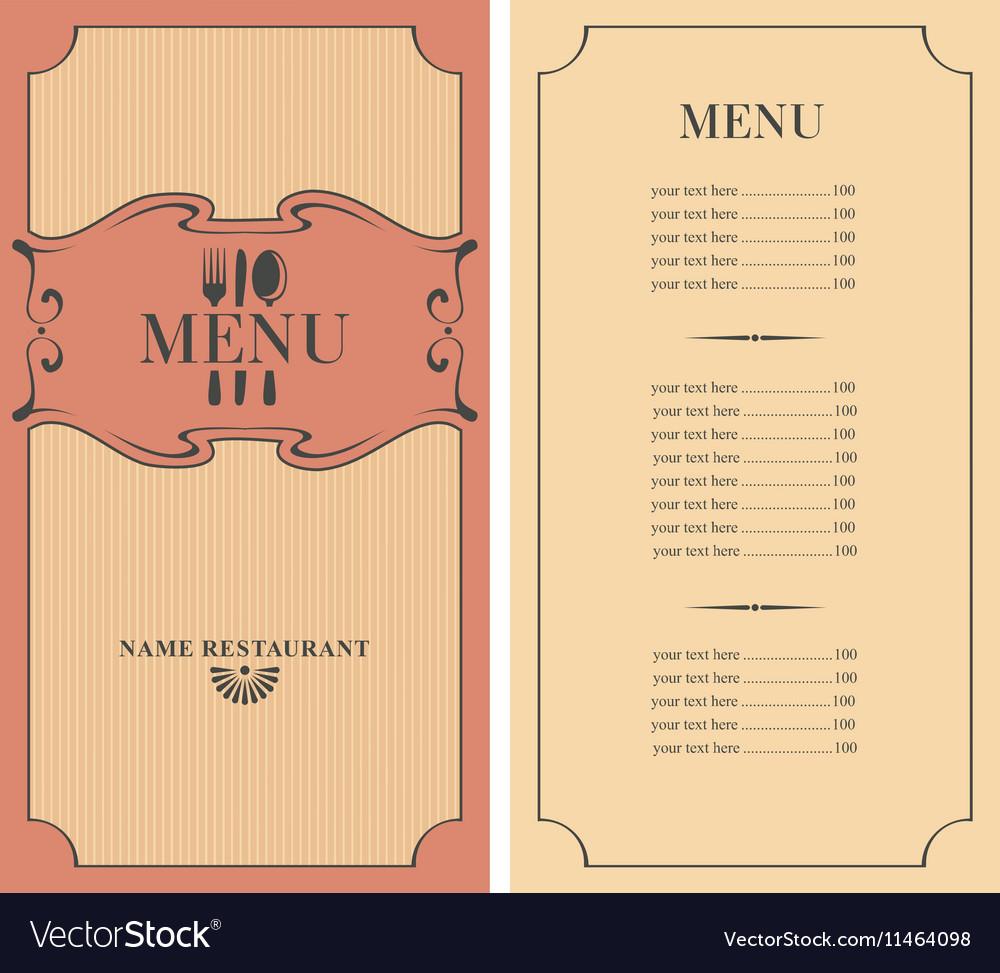 Menu with price
