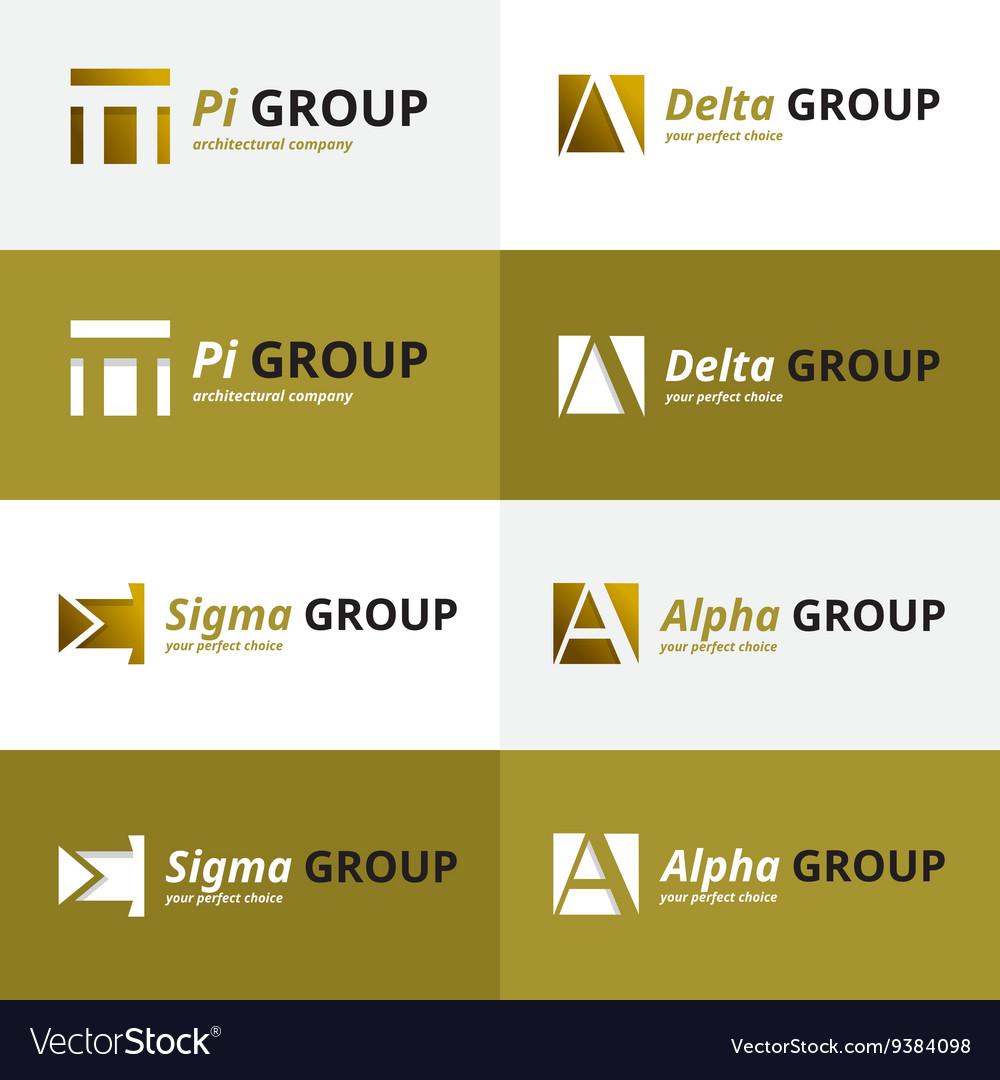Minimalistic negative space greek letters