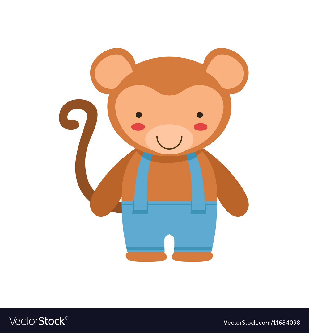 Monkey In Blue Pants With Suspenders Cute Toy Baby vector image