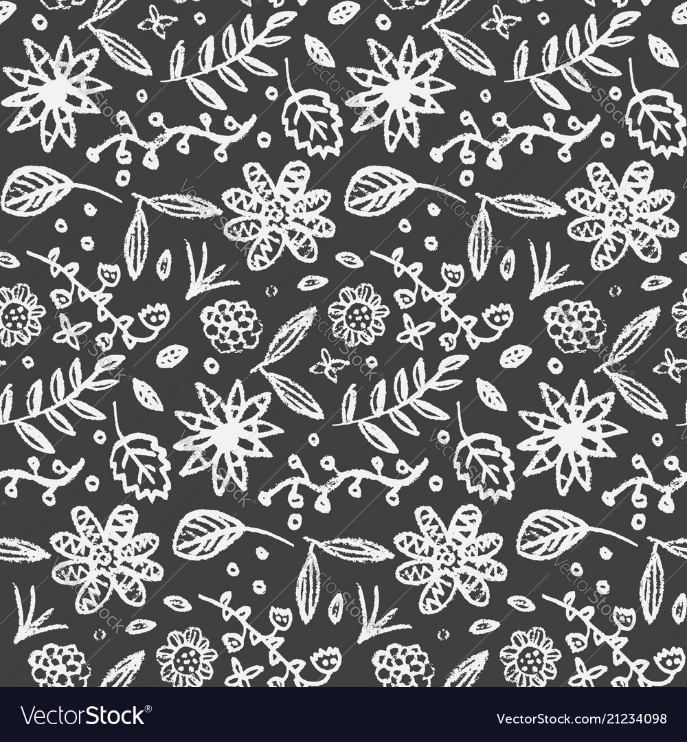 Monochrome pattern with cute doodle flowers