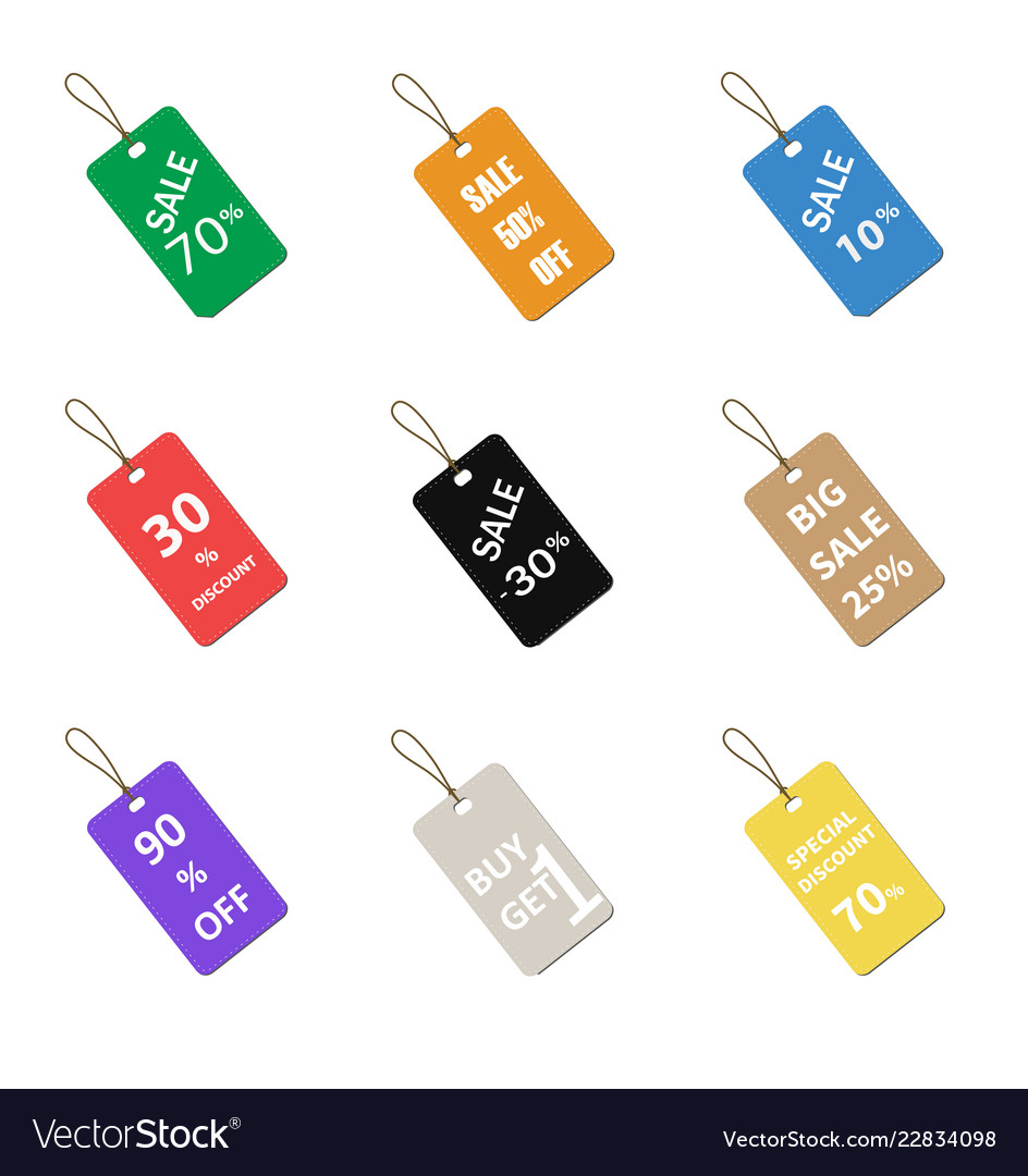 Multicolor label tags set isolated on white