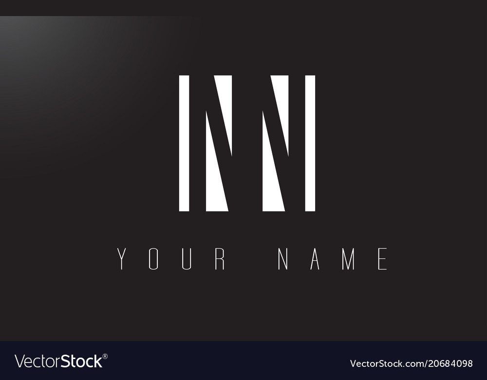 Nn letter logo with black and white negative vector image