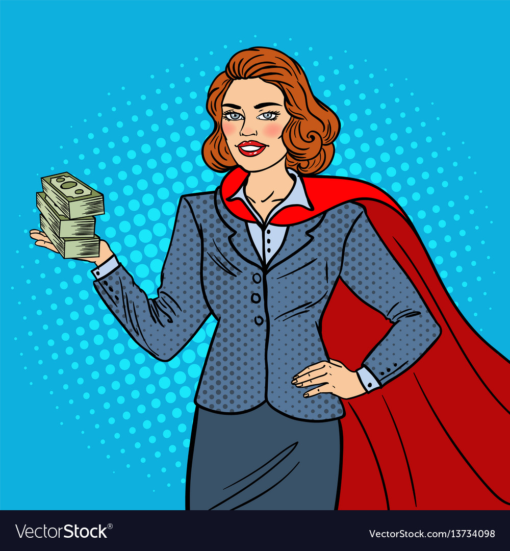 Pop art super businesswoman in red cape