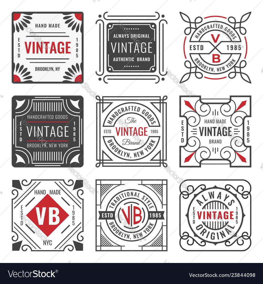 Set of nine stylish line insignias decorative